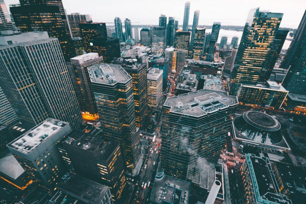 overhead view of metropolis