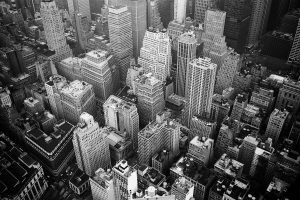 black and white photo of city overhead view